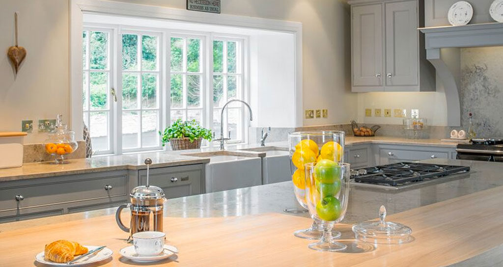 Maximising space in your interiors - tips from award winning Dublin interior design studio, Maria Fenlon. Image shows fresh kitchen design