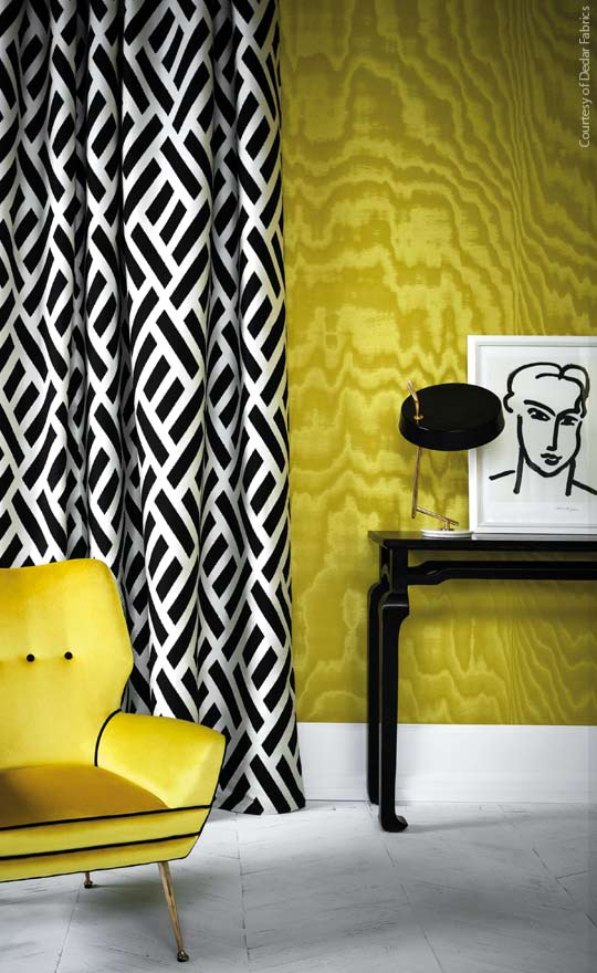 Interior Design services, Dublin. Yellow and monochrome interior by Maria Fenlon
