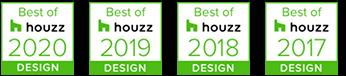 Best of Houzz awards logos, 2020, 2019, 2018, 2017